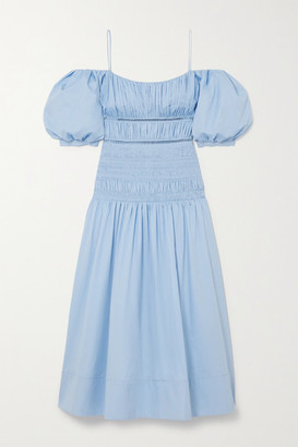 Self-Portrait Shirred Crochet-trimmed Cotton-poplin Midi Dress - Light blue