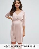 Asos Maternity - Nursing Asos Maternity Nursing Drape Front Midi Dress