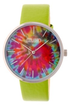 Crayo Unisex Swirl Green Leatherette Strap Watch 42mm