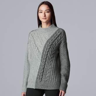 Vera Wang Petite Simply Vera Cable-Knit Colorblock Mockneck Sweater