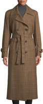 Giuliva Heritage Collection The Christie Double-Breasted Plaid Wool Trench Coat