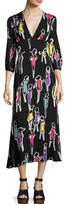 Moschino 3/4-Sleeve Fashion-Print Long Dress, Multi Pattern