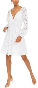 INC International Concepts Inc Cotton Keyhole Eyelet Dress, Created for Macy's