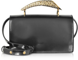 Maissa Black Glossy Leather Middle Horn Shoulder Bag w/Gold Brass Middle Horn