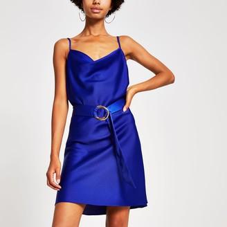 River Island Womens Blue cowl neck belted slip dress