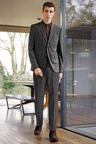 Next Grey Textured Check Slim Fit Suit: Jacket