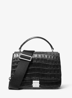 Mia Crocodile-Embossed Leather Shoulder Satchel