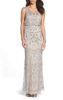 Adrianna Papell Women's Adrianna Pappell Beaded Mesh Blouson Gown