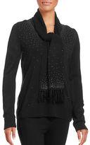 Karen Scott Embellished V-Neck Sweater with Scarf