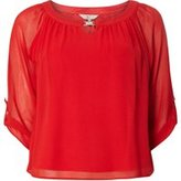 Dorothy Perkins Womens **Billie & Blossom Petite Red Trim Bubble Top- Red