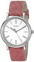 Timex Women's TW2P63600AB Originals Silver-Tone Watch with Red Leather-Lined Cloth Band
