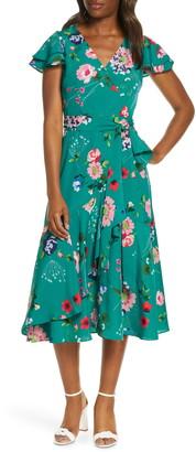Eliza J Floral Flutter Midi Faux Wrap Dress