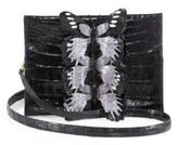 Nancy Gonzalez Small Butterfly-Detail Crocodile Clutch