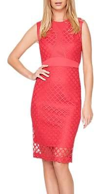 Damsel in a Dress Grid Lace Dress, Cherry