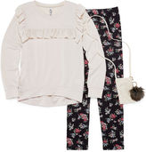 Knitworks Knit Works Long Sleeve Ruffle Detail Top Legging Set with Purse- Girls' 7-16 & Plus