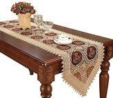 Vintage Gold Burgundy Lace Table Runner And Dresser Scarves Embroidered Floral 16 By 72 Inch