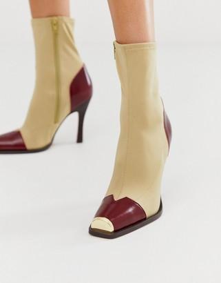 Asos DESIGN Eli premium leather mix sock boots in natural