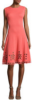 Carolina Herrera Sleeveless Knit Eyelet Dress