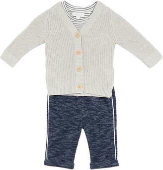 Miniclasix Boy's Ribbed Cardigan Three-Piece Outfit Set, Size 3-24M