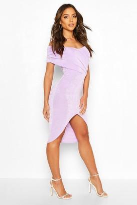 boohoo Textured Slinky Off The Shoulder Wrap Dress