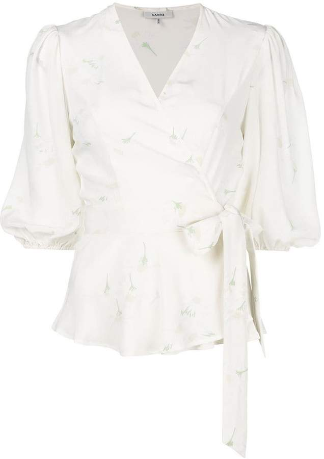 Ganni V-neck waist-tied blouse