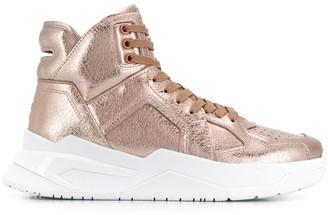 Balmain metallic hi-top sneakers