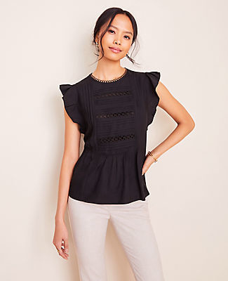 Ann Taylor Petite Lacy Pintucked Flutter Top