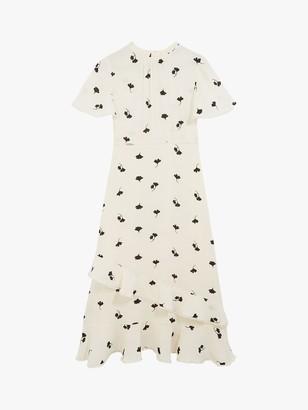 Oasis Leaf Print Midi Dress, Neutral/Multi