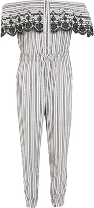 River Island Girls White stripe frill bardot jumpsuit