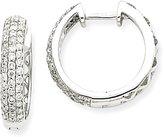 Hazrati 14k White Gold Diamond Hoop Earrings