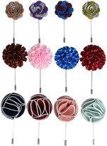 kilofly Men's Flower Lapel Pin Wedding Suit Boutonniere Stick, Set of 12