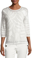 Escada Leaf-Embroidered 3/4-Sleeve Top, Off White
