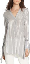 Halston Shimmer Striped Top