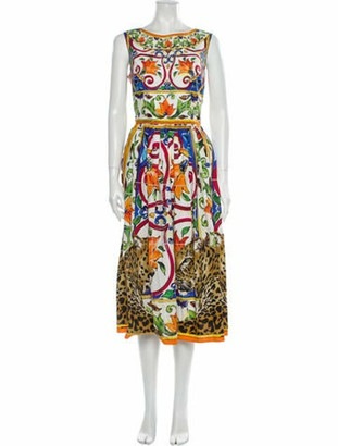 Dolce & Gabbana Printed Midi Length Dress w/ Tags Orange