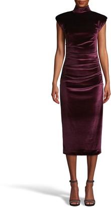 Nicole Miller Stretch Velvet Mock Neck Midi Dress