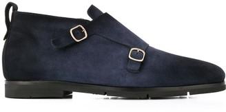 Santoni Side Buckle Textured Boots