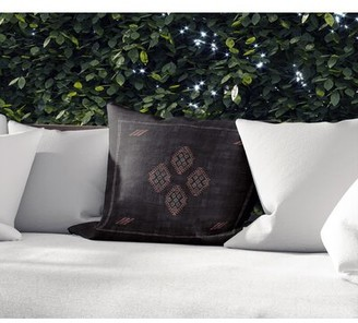"Union Rustic Giacinta Outdoor Square Cotton Pillow Cover and Insert Color: Black/Gray, Size: 16"" x 16"""