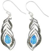 Victoria Crowne Sterling Silver Blue Opal and Marcasite Feather Dangle Earrings