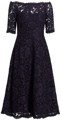 Teri Jon by Rickie Freeman Off-The-Shoulder Three-Quarter Sleeve Lace Dress