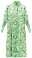 Ganni Rose-print Cotton Shirt Dress - Womens - Green