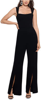 Xscape Evenings Double-Strap Wide-Leg Jumpsuit