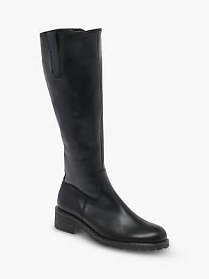 Gabor Stucco Wide Fit Calf Boots, Black