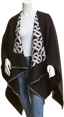 Burberry Monogram Jacquard Wool Cape