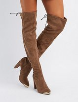 Charlotte Russe Gold-Tipped Over-The-Knee Boots