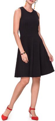 Leota Ava Sleeveless Pebble-Jersey Fit-and-Flare Dress