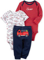 Carter's 3-Pc. Cotton Firetruck Bodysuits & Pants Set, Baby Boys