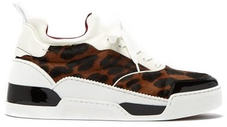 Christian Louboutin Aurelien Leopard-print Pony-hair Low-top Trainers - Multi