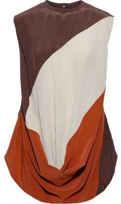 Rick Owens Inhuman Draped Color-block Silk Crepe De Chine Blouse