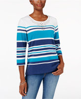Alfred Dunner Adirondack Trail Striped Studded Top