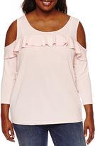 Boutique + + 3/4 Sleeve Cold Shoulder Ruffle Knit Blouse-Plus